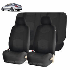 SOLID BLACK HONEYCOMB AIRBAG READY SPLIT BENCH SEAT COVERS 6PC SET FOR CARS 1143