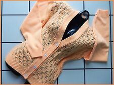 PERFECT! Vtg NOS Orange Sherbet OPENWORK Crochet CARDIGAN SWEATER 38