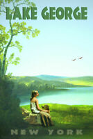 349460 Lake George York Retro Travel Young Girl and Doodle Dog GLOSSY POSTER CA