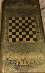 VINTAGE WOOD METAL GLASS TOP CHESS / DRAUGHTS GAMES TABLE / COFFEE TABLE