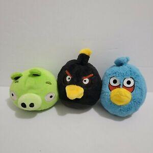"Angry Birds Blue Jay, Black Bird, Pig Plush 5"" No Sound 2010 Lot of 3"
