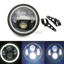 "6.5"" Motorcycle LED Headlight Hi/Lo Beam Angel Eye W/ Bracket For Harley Bobber"
