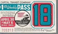 Trolly/Bus pass capital Transit Wash. DC--1944 Prevent Forest Fires-----87