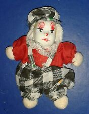 *** 11 cm PORCELAIN HEAD DOLL CLOWN 2 FLAT HAT *** CLOTH BODY