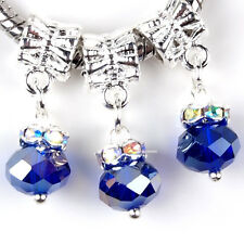 5PCS Alloy Dangle Crystal Blue Faceted Glass Charms Beads Fit European Bracelets