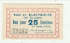 Eau et électricité de Cluses 10 août 1916 25 centimes Neuf
