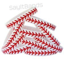 20 Baseball Silicone Wristband featuring Debossed Thread Pattern Great Bracelet