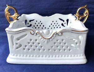 "Porcelain Treasures Napkin Holder White Gold Handles Trim Pierced Openwork 6.5"""