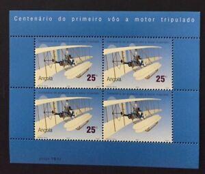 Angola 2003 - 100 Years 1st Motor Flight Tripulated S/S MNH