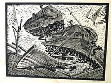 "Vintage Signed Wood block Print Gan Kolski Polish-American 1899-1932 ""Bay Shore"""