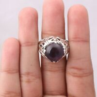 Amethyst Solitaire Ring Size 5 925 Solid Sterling Silver Handmade Jewelry