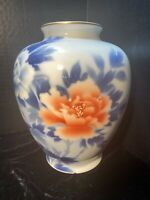 Japanese Fukagawa Vase Vintage Asian Floral Pattern in Cobalt Blue and Peach