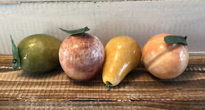 Lot 4 Vintage Hand Carved Onyx Stone Fruit Peach Lime Apple Pear Made In Mexico