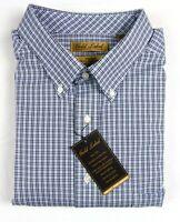 NWT Gold Label Roundtree York LS Navy Blue Check Men Shirt Big & Tall 2XT 3XT