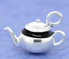2Pcs Silver Plated Enamel 3D Teapot Charm Pendants 17x12mm Tone LC0629