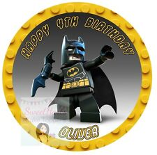 Lego Batman Cake Topper 7.5 Inches Round Personalised Edible Icing Sheet