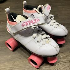 Chicago Bullet Ladies Speed Quad Roller Skates White/Pink Wheels Size 8