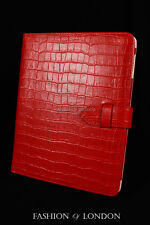iPad 2 3 & 4 (Red Crocodile) Real Leather Croc Print Cover Case Stand Folio