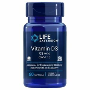 Vitamin D3 60 sgles 7000 IU by Life Extension