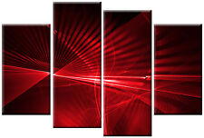 LARGE RED CANVAS DIGITAL ABSTRACT WALL ART PICTURE SPLIT 4 PANEL MULTI 100cm