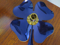 AWESOME VINTAGE BRASS AND BLUE ENAMEL 4 LEAF CLOVER CANDLESTICK CANDLE HOLDER