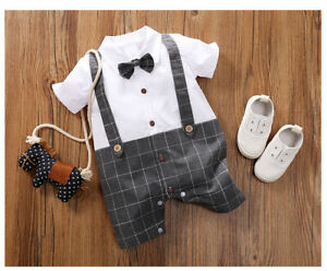 Baby Boy Navy or Grey Romper Suit Wedding Formal Party Smart Outfit Shorts 0-18m