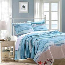 Queen Ocean Themed Quilt Set Coastal Sea Blue Beach Bedding Turquoise Wave