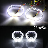 2x 3.0 inch Square LED Day Running Light Angel Eyes White DRL Yellow Turn Signal