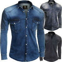 Men's Denim Shirt Western Metal Poppers Stretchy Cotton Ribbed Arms UK Size M-3X
