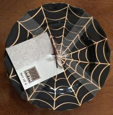 222 Fifth GOLDEN SPIDERWEB Appetizer Plate Set Of 4 Halloween
