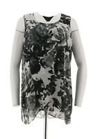 H Halston Slvless Tunic Floral Print Chiffon Overlay Black XS NEW A287114