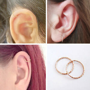 Delicate Twisted Silver Rose Gold Tiny Small 6mm Thin 0.7mm Nose Hoop Ring Stud