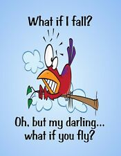 METAL REFRIGERATOR MAGNET Bird What If Fall But Darling Fly Family Friend Saying