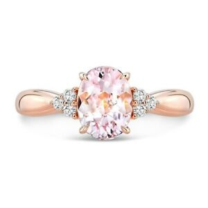 18k Rose Gold Oval Cut Morganite Diamond Ring Solitaire Pink 1.29 TCW Natural
