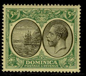 DOMINICA GV SG88, 5s black & green/yellow, NH MINT. Cat £45. WMK SCRIPT