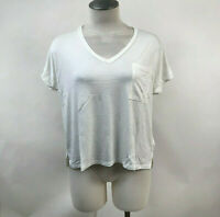 Project Social T Women's V-Neck Pocket T-Shirt White Size M NEW Urban