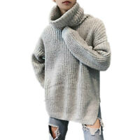 Mens Knitted Sweaters Thicken Loose Tops Turtleneck Long Sleeve Pullovers Winter