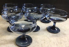 7 VINTAGE WINE/CHAMPAGNE COUPE BLUE GLASS PAIR STEMWARE BARWARE DRINKWARE