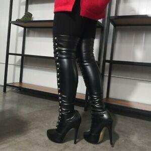 Womens Over Knee Boots Stilettos High Heels Round Toe Platform Shoes UK 2.5-10.5