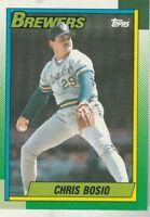FREE SHIPPING-MINT-1990 Topps #597 Chris Bosio Brewers PLUS BONUS CARDS