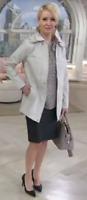 Liz Claiborne New York Button & Zip Front Coat w/ Contrast Trim, Dove Gray, XS