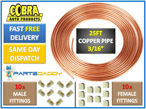 "Copper Brake Pipe 25ft 3/16"" with 10mm fittings - male female nuts unions x 20"