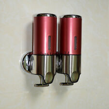 2x500ML Red Stainless Steel  Wall Mounted Liquid Shampoo/ Soap Dispenser