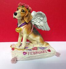 Danbury Mint February Calendar Perpetual Valentine's Cupid Beagle Dog Figurine
