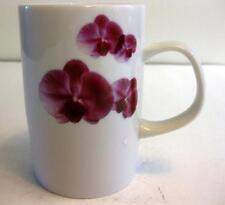 EUC WHITE PORCELAIN WITH BURGUNDY FLOWERS DESIGN MUG 8 OZ.