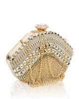 Ladies New Evening Clutch Bag Womens Prom Wedding Party Diamante Crystal Tassels