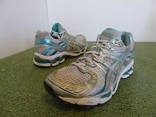 ASICS T150N Gel Kayano 17 women 8 White Silver Green Turquoise Teal Running Shoe