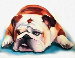 "UNFRAMED CANVAS PRINT british bulldog painting ART MEDIUM 20x30"" inches"