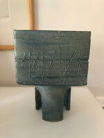 Vtg Mid Century Modern Blue Pedestal Ceramic Pottery - Japanese Ikebana Planter