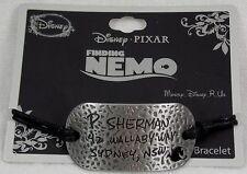 Disney Finding Nemo P Sherman Wallaby Way Address Pendant Black Cord Bracelet